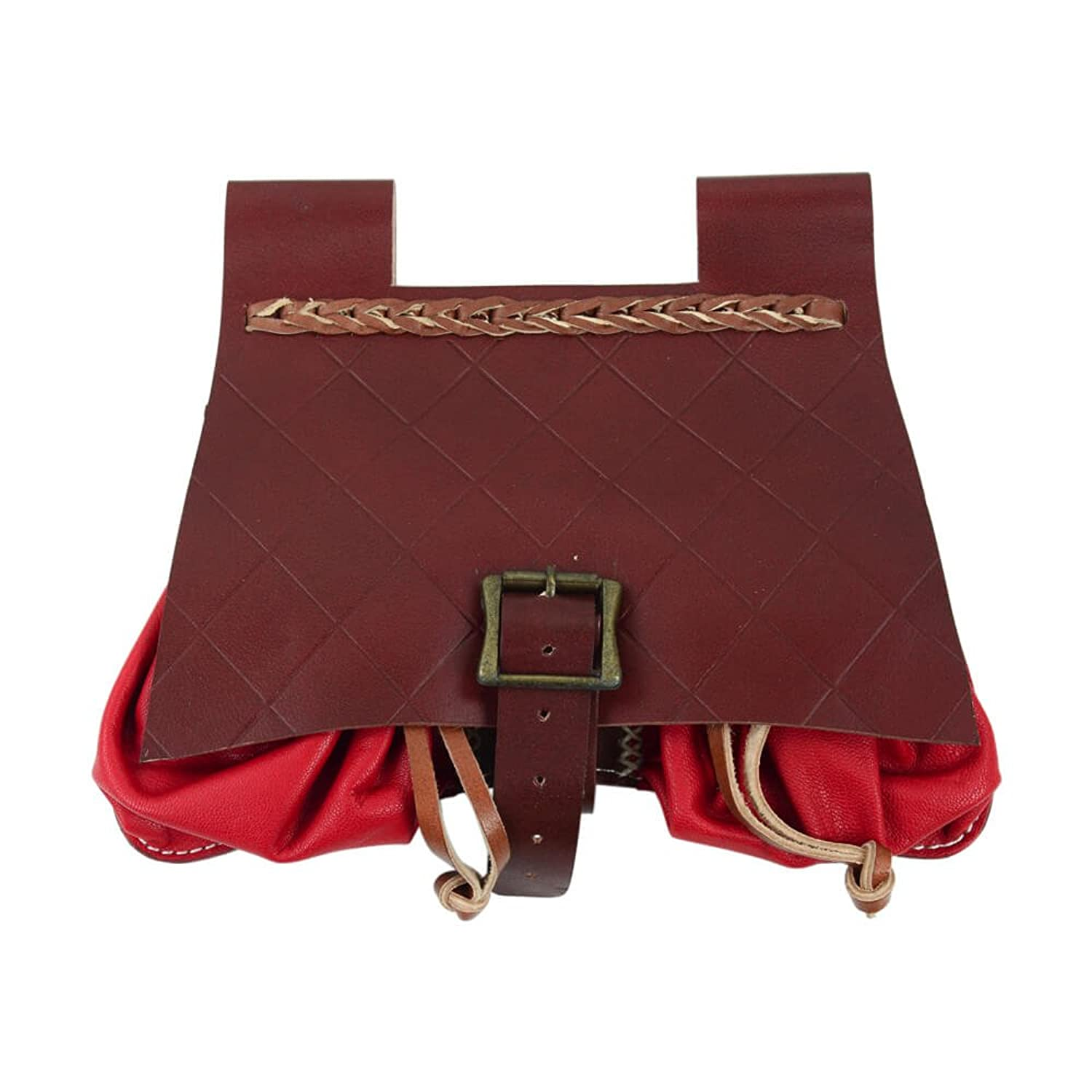 Deluxe Medieval Red Leather Belt Satchel