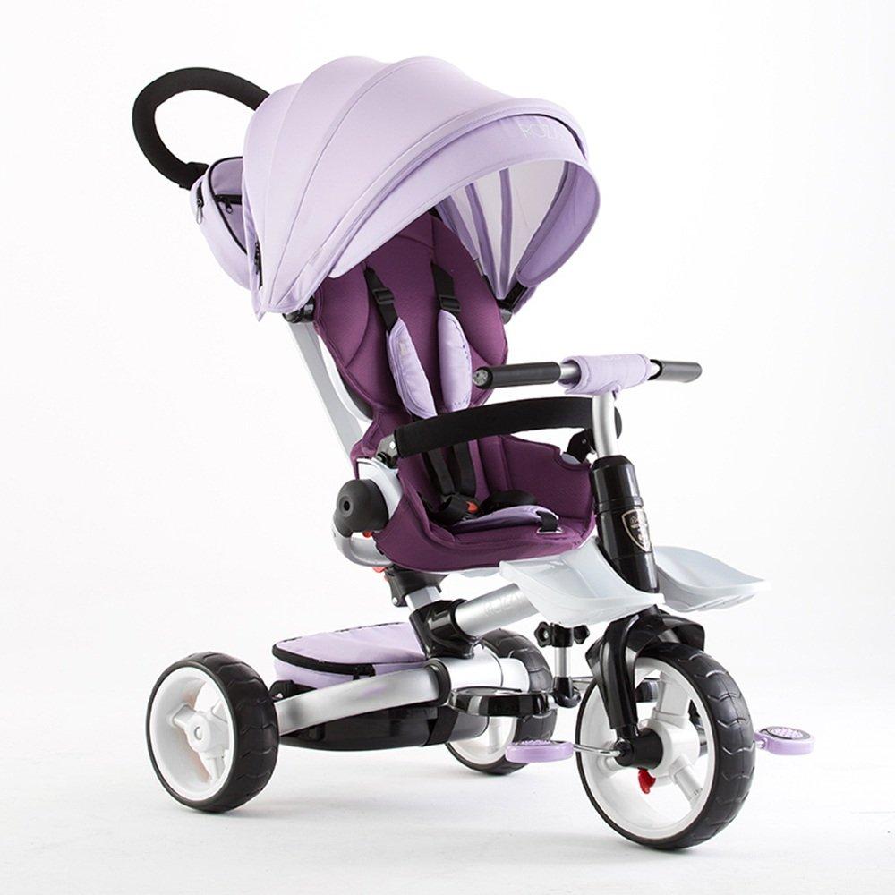 HAIZHEN マウンテンバイク 折りたたみ式の子供たちtrike tricycle4 stageブラック、グレー、グリーン、オレンジ、パープル 新生児 B07C6WPGF9 パープル ぱ゜ぷる パープル ぱ゜ぷる