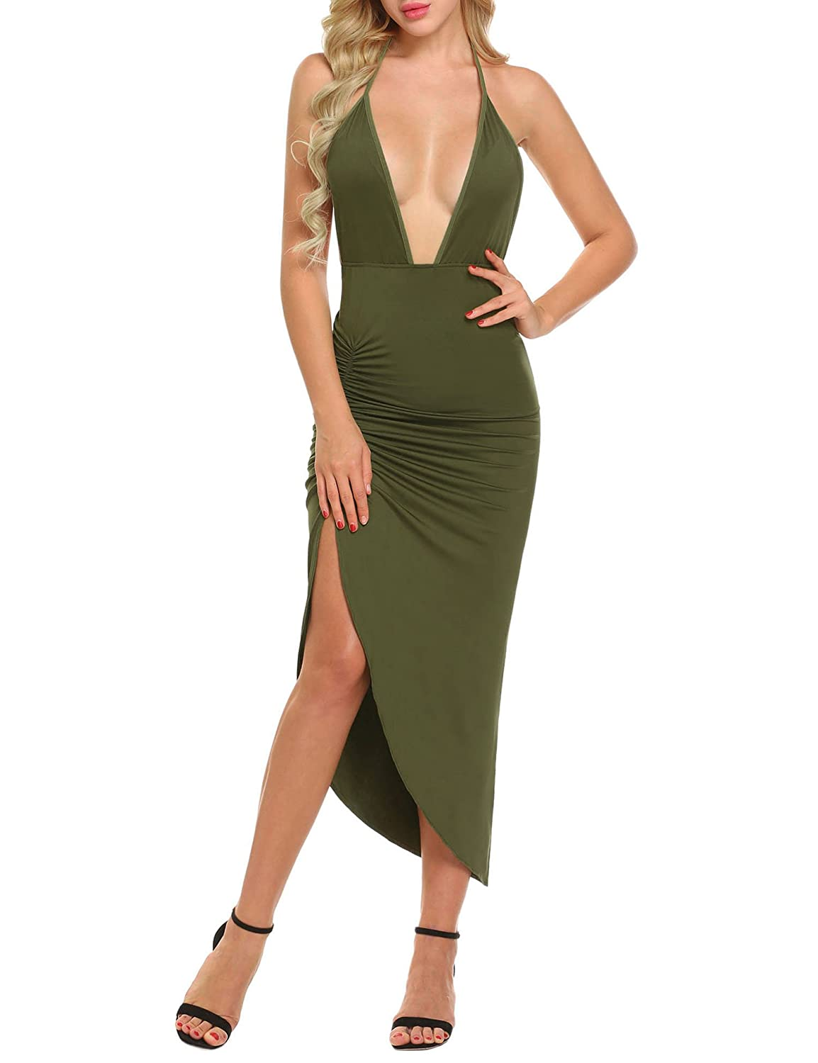 e0d68208f5 Funpor Women s Sexy Deep V Neck Halter Backless Ruched High Split Party  Long Dress at Amazon Women s Clothing store