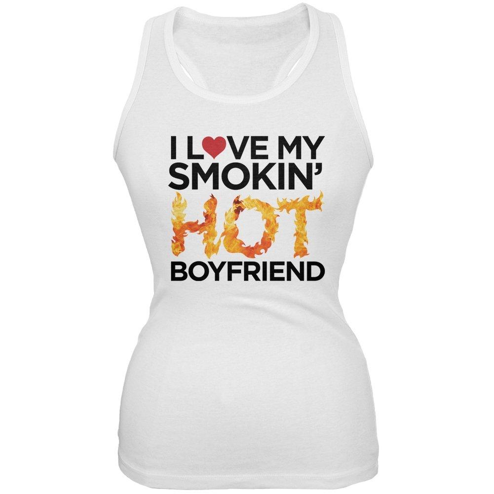 I Love My Smokin Hot Boyfriend White Juniors Soft Tank Top Tees Plus