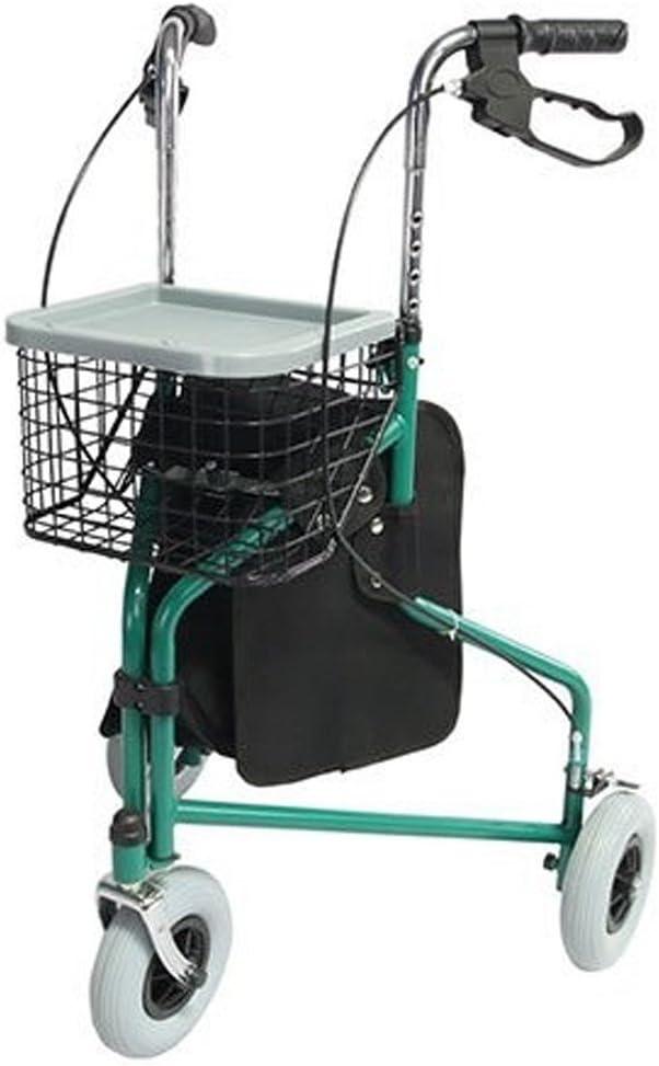 Mobiclinic, Modelo Caleta, Andador para adultos, mayores, minusvalidos o ancianos, de acero, ligero, plegable, con cesta y 3 ruedas, Color Verde