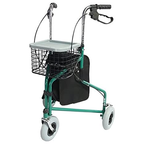 Mobiclinic, Modelo Caleta, Andador para adultos, mayores, minusvalidos o ancianos, de acero, ligero, plegable, con asiento, cesta y 3 ruedas, Color ...