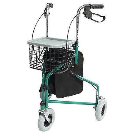 Andador para ancianos, Plegable, Freno en manetas, 3 ruedas, Cesta, Verde, Caleta, Mobiclinic
