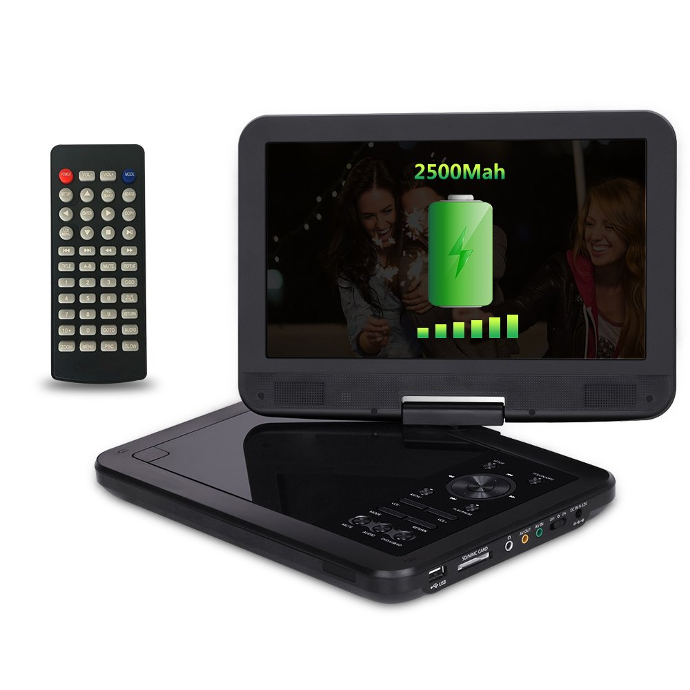 10.5'' Portable DVD Player for Car and Kids with 270°Large Swivel Screen | Headrest Mount,CREATESTAR 5 Hours Rechargeable Battery, USB/SD Card Reader Charger Mounting Kit - Black by CREATESTAR (Image #4)