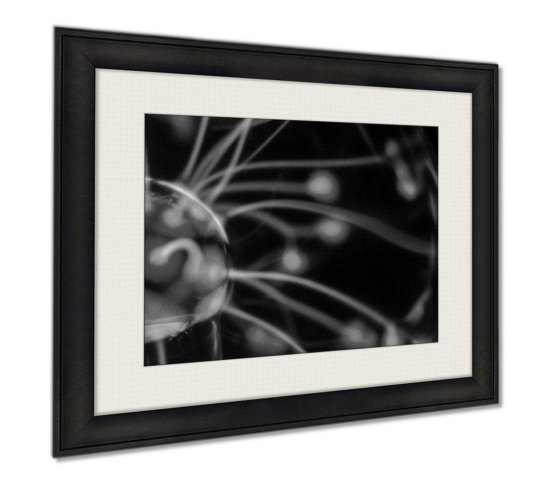 Ashley Framed Prints Tesla Sphere, Wall Art Home Decoration, Black/White, 34x40 (frame size), AG6021208