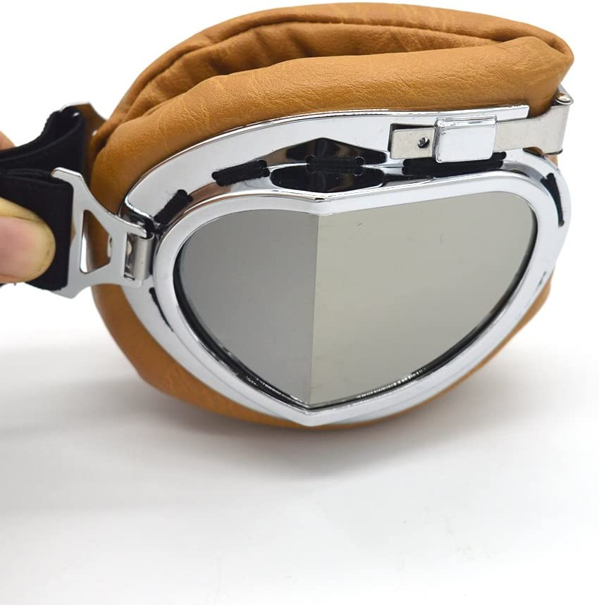 Silver, Blue Evomosa Vintage Goggles Aviator Pilot Style Motorcycle Cruiser Scooter Goggle Bike Racer Cruiser Touring Half Helmet Goggles
