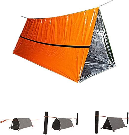 2 Person Tube Tent  First Aid Emergency Survival Hiking Camping Shelter Portable