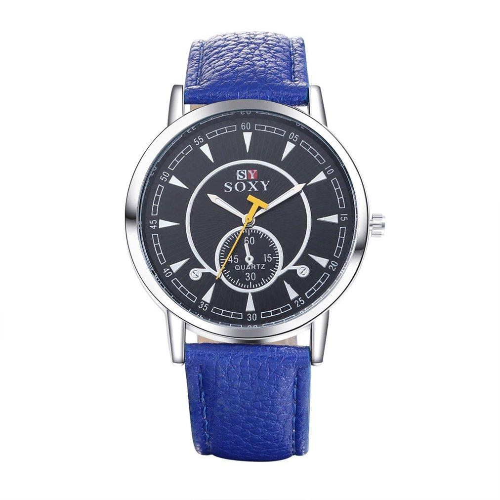 メンズクラシックビンテージラグジュアリーブルーレザーバンドガラスクォーツアナログSwissステンレススチールCase Wrist Watches B01FJMJFTA