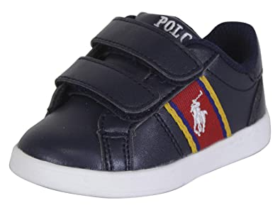 3a7f5f4fe082e Polo Ralph Lauren Kids Unisex Quigley EZ (Toddler) Navy Smooth/Red/White