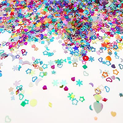 Wankko Multicolor Manicure Glitter Confetti 7.2oz/200g, Mixed Shapes Size 2-4mm For Party Decoration, DIY Crafts, Premium Nail Art Etc: Toys & Games