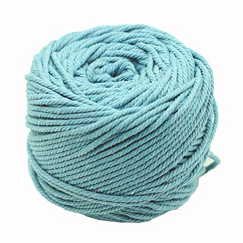 (Black Red Green Colorful Natural Cotton Macrame Wall Hanging Plant Hanger Craft Making Knitting Cord Rope 3mm Dia (3mm Lake Blue))