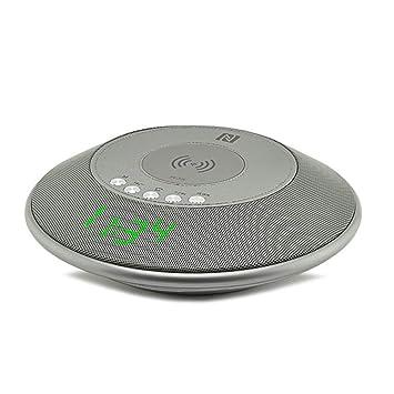 Wolfsay Altavoz inalámbrico Bluetooth QI Cargador inalámbrico con Radio FM Reloj Despertador NFC para iPhone Samsung: Amazon.es: Hogar