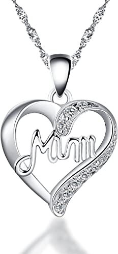 925 Sterling Silver Gold plated Mum Heart Pendant Necklace with 16-20 chain