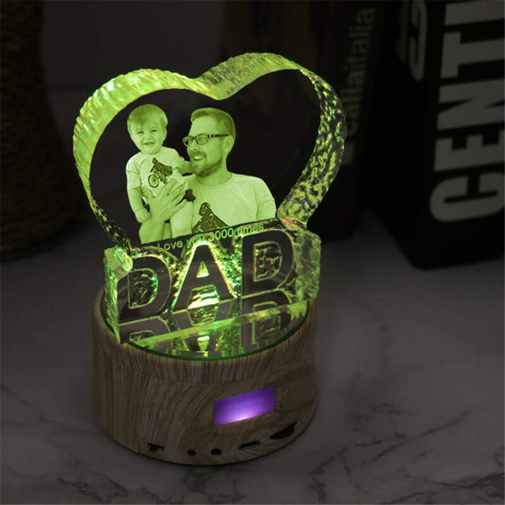 Father Day Personalise Engraved Crystal 3D Dad Colorful LED Light Music Box Bluetooth Base 6 Color Lights Gradient by prodigal (Image #1)