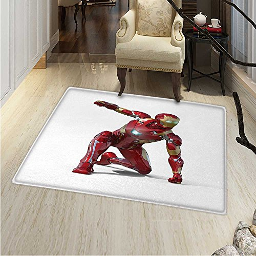 Superhero Print Area Rug Robot Transformer Hero Superpower in Costume Cyber Man Fun Character Print Perfect Any Room, Floor Carpet 4'x6' White -