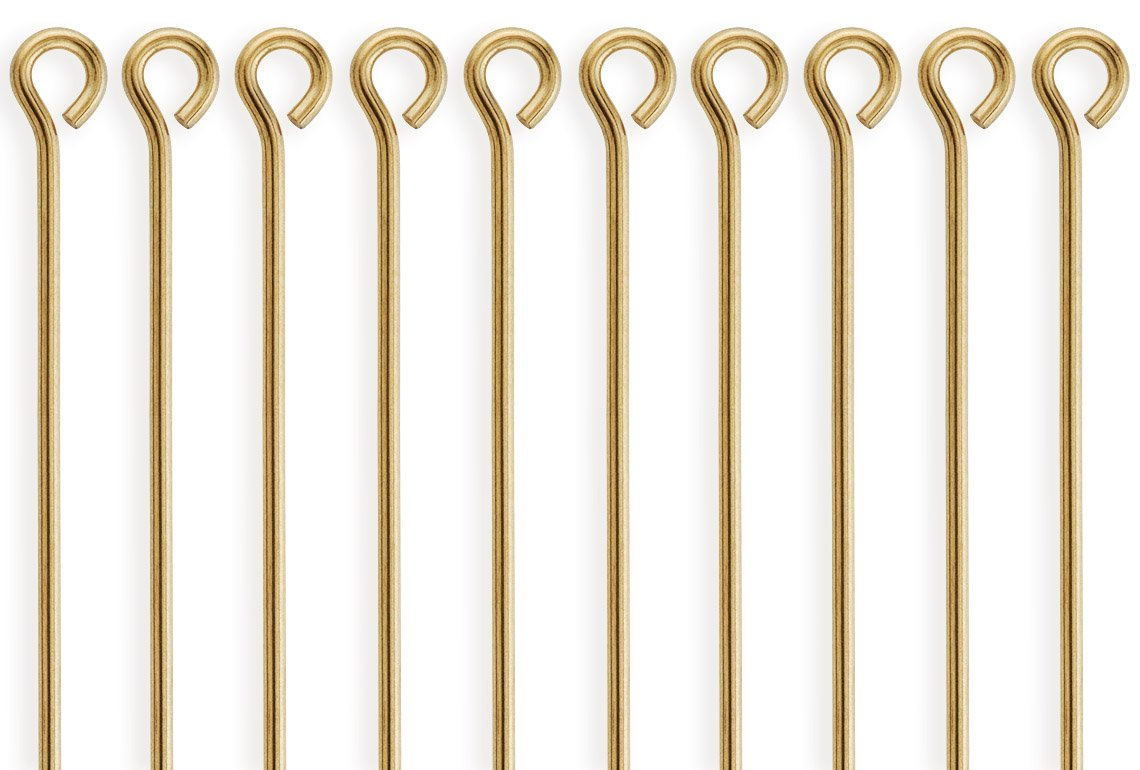50 Pieces 14Kt Gold Filled Eye Pins 24 Gauge 2 inch by houseofgems