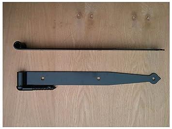 20u0026quot; Heavy Duty Strap Hinge With Pintle   Black Barn Door Hinge