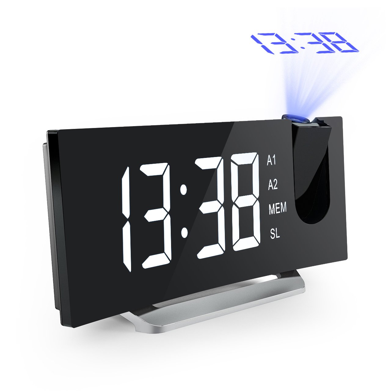 Mpow Digital Alarm Clock, Curved-Screen Clock with 3.75'' LED Dimmer Display, Bedside Alarm Clock with 3 Alarm Sounds, 4 Adjustable Brightness, 30 Minute Ring Time, 12/24 Hours Switchable, Backup Function(Power Adapter Included)
