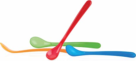 Weaning Spoons for babies from 4 months old Pack of 4 Nuby 5565 Simpy First Solids Feeding multi coloured BPA Free.