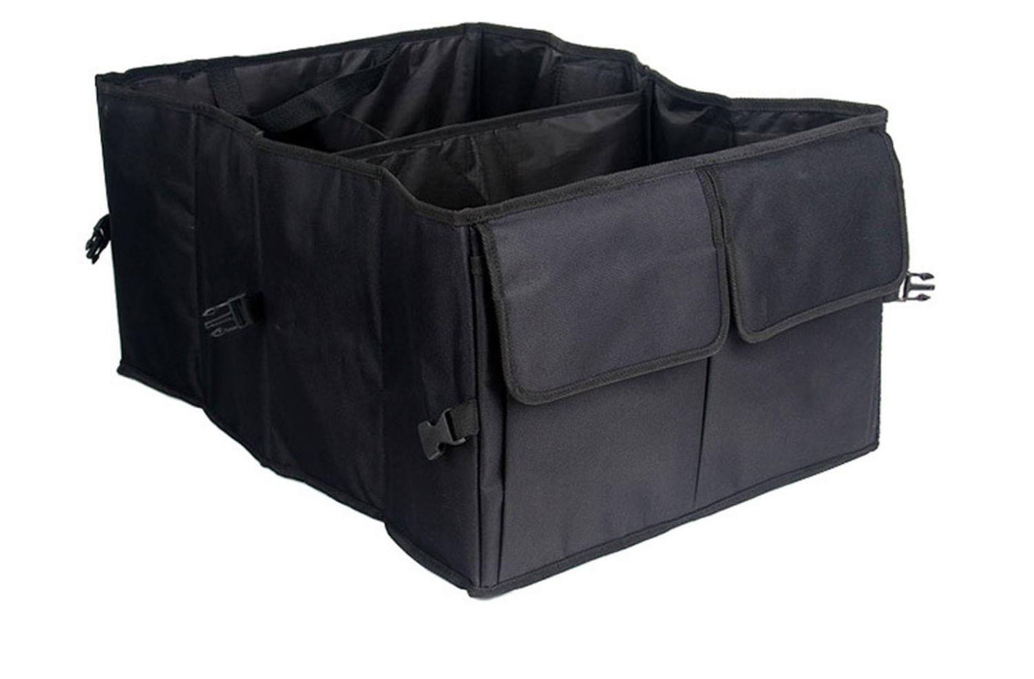 MQYH@ Car Trunk Organizer for Truck - Auto Durable Foldable Cargo Trunk Organizer Storage with Straps - Black 56 39 26.5CM