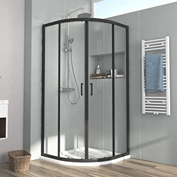 Duschabtrennung Schiebetür Duschkabine Eckeinstieg Schwarz Duschwand Nano Glas