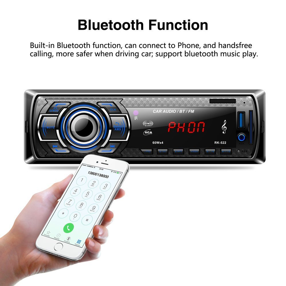 POMILE Car Stereo Audio Receiver Bluetooth, Car Radio MP3 Player Single Din In-Dash USB/SD/FM/AUX/MMC with Remote Control 12V, (No CD/DVD) by POMILE (Image #2)