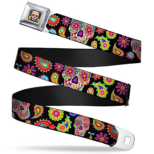 Buckle-Down Seatbelt Belt - Bobo Sugar Skull/Paisley Black/Multi Color - 1.5