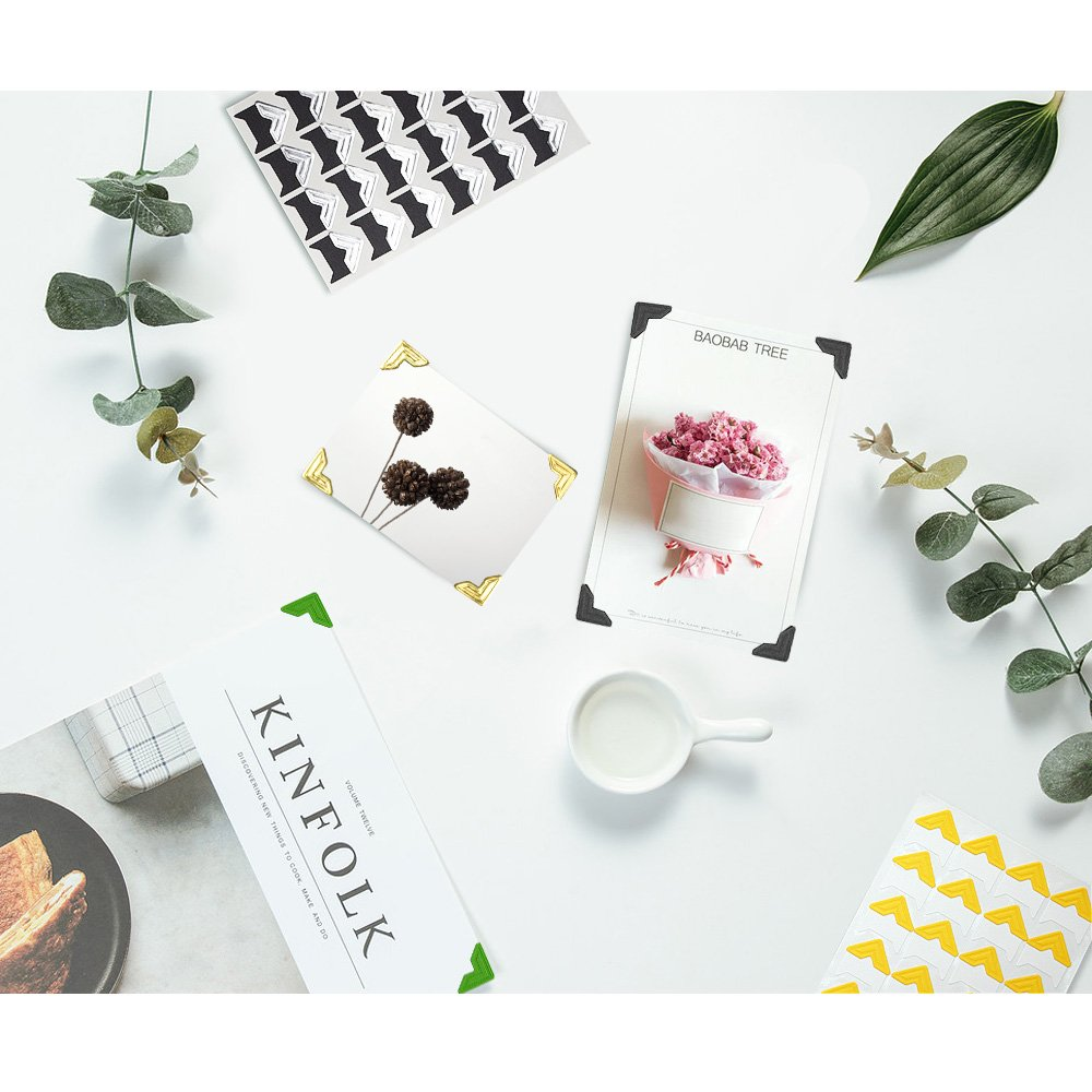 WXJ13 13 Sheets 13 Colors Photo Mounting Corners Photo Corners Self Adhesive for DIY Scrapbooking, Picture Album
