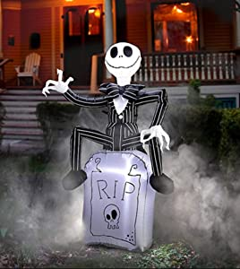 Gemmy 74039 Jack Skellington On Tombstone Airblown Inflatable 3.5' Tall, Black/White
