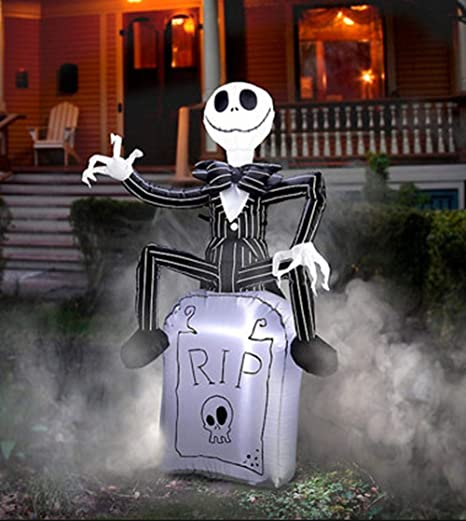 Amazon.com: Gemmy Jack Skellington On Tombstone inflable, NS ...
