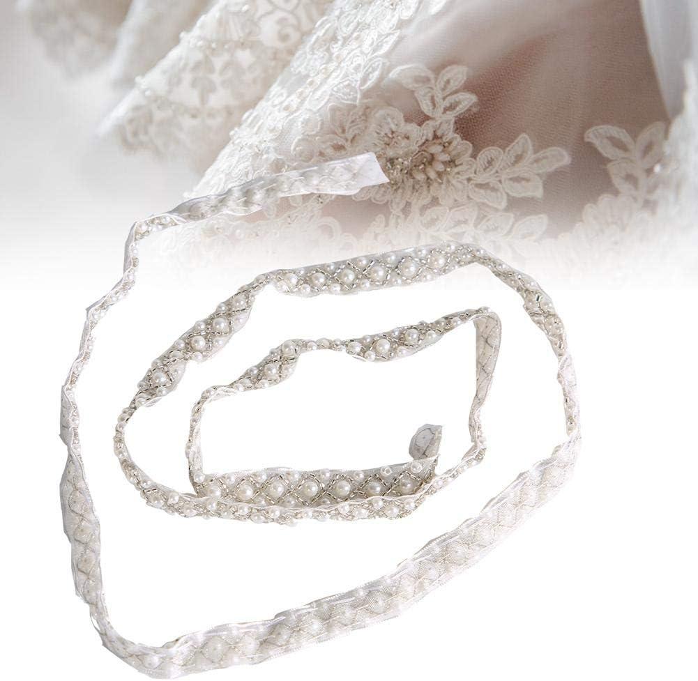 Sheens Perla Cuentas Encaje Borde Cinta Borde Blanco Ribete Tejido Apliques Bordados Costura Artesan/ía Boda Vestido de Novia Faja Cintur/ón Regalo de Bricolaje Encaje con Lentejuelas