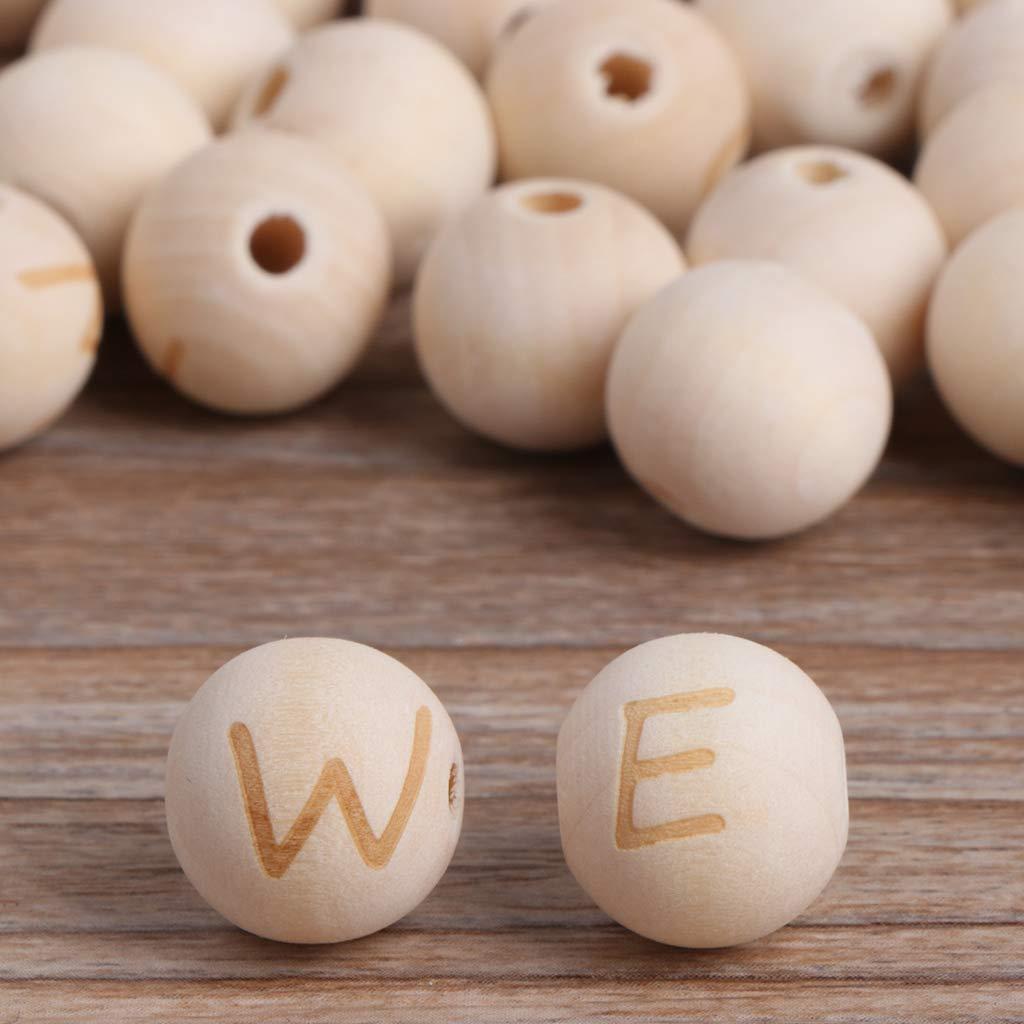 huyiko 50 Pcs en Bois Naturel Perles Rondes DIY Collier Bracelet Lettre B/éb/é Jouet De Dentition Jouets pour La Fabrication De Bijoux D/écoration