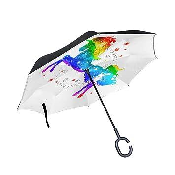 mydaily doble capa paraguas invertido coches Reverse paraguas colorido unicornio con estrellas resistente al viento UV