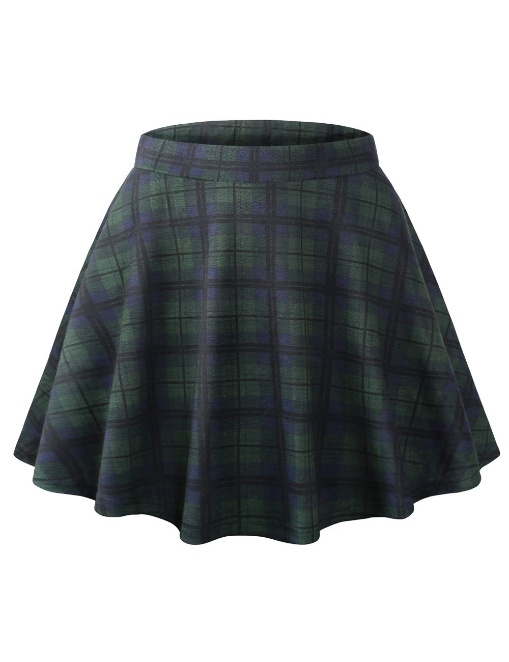 Plaid Skirts for Women, DJT FASHION Women's Elastic Basic A Line Plaid Pleated Circle Stretchy Flared Skater Skirt Green S