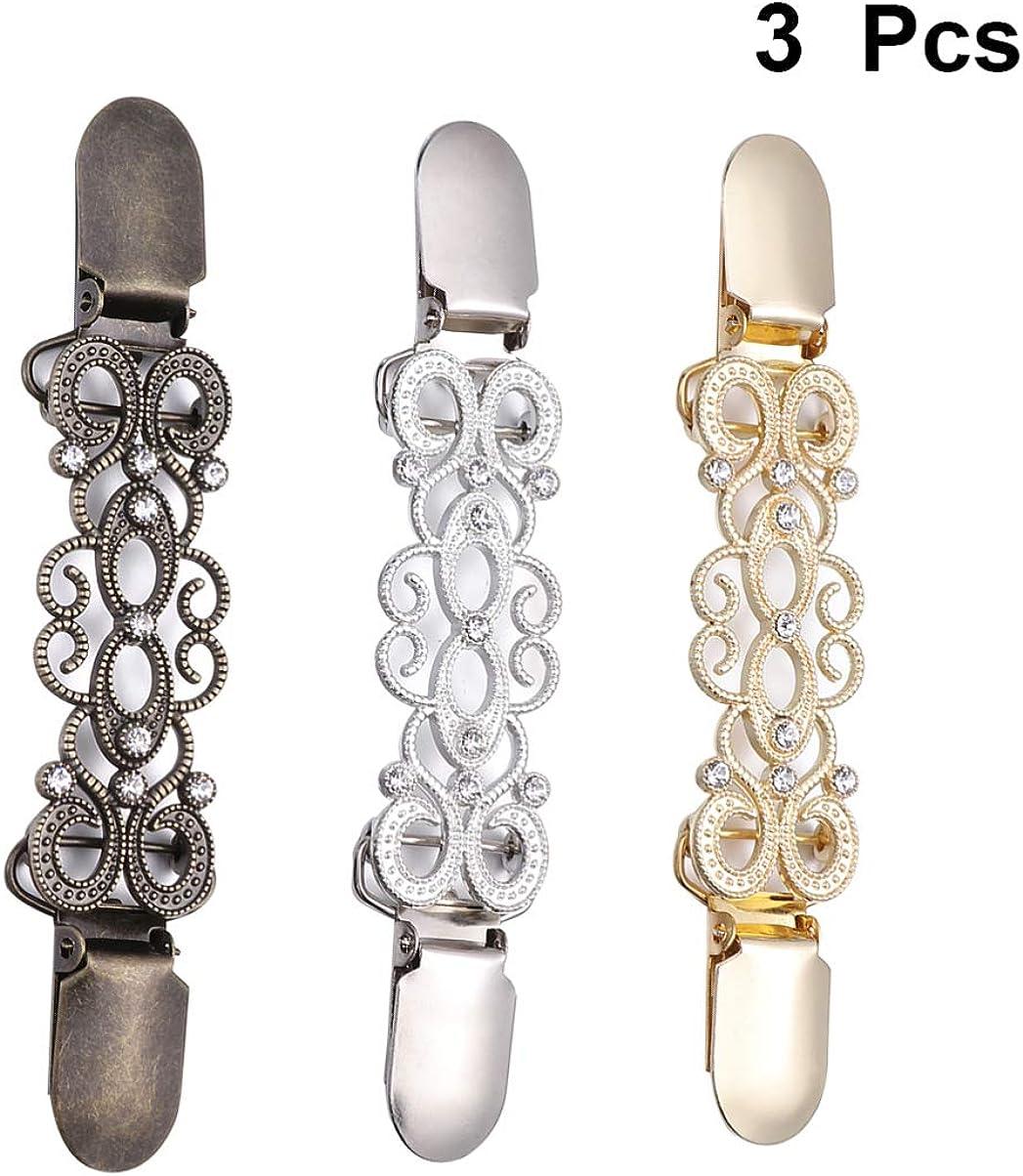 VALICLUD 3 ST/ÜCK Frauen Pullover Clips Kreative Legierung Diamant Strickjacke Verbindung Schnallen Kragen Clips Goldene, alte Silber und Antike Bronze