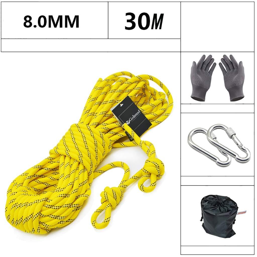 XXHDYR Corde d'escalade Corde d'escalade extérieure diamètre de Ligne de Vie Haute 8mm Longueur 5 10 15 20 30   50m Jaune Cordes (Taille   10M) 30M