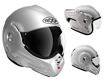 ROOF - Casco Desmo, color plateado mate, talla XS, color blanco
