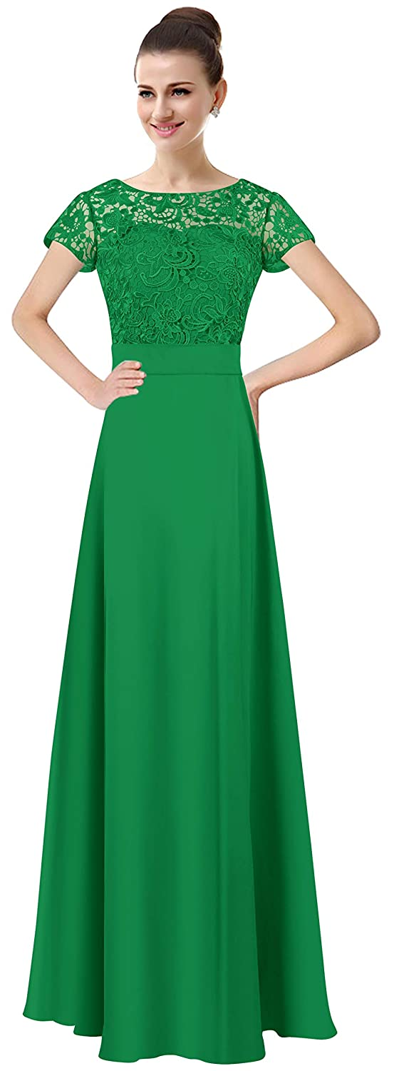 Green Lily Anny Womens Long Lace Bridesmaid Dresses Prom Gown with Short Sleeves L061LF