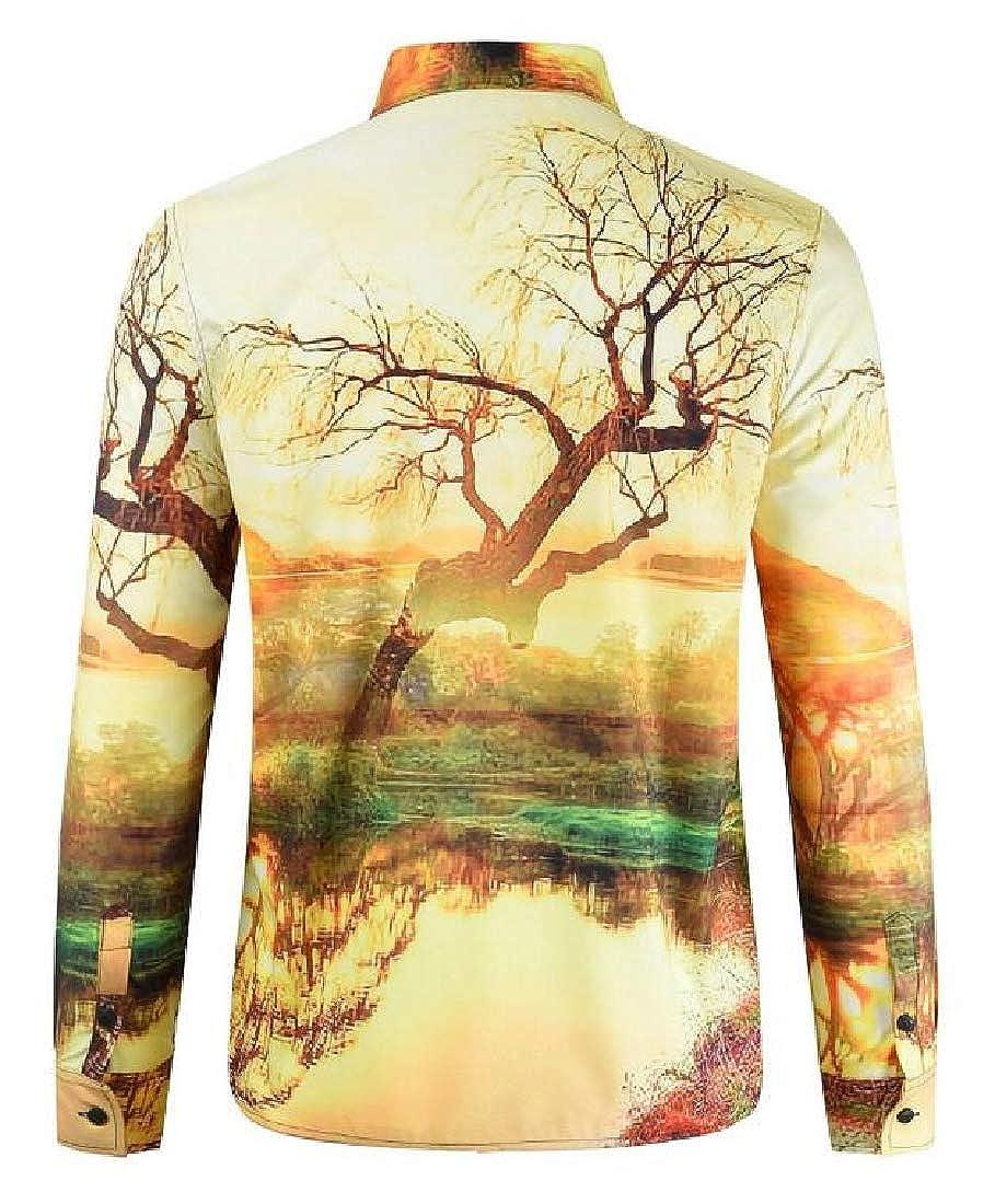 YYear Men Lapel Neck 3D Print Slim Fit Casual Long Sleeve Button Down Shirt