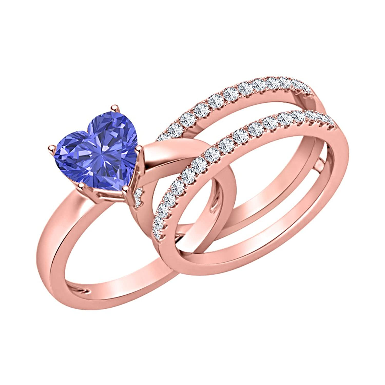Amazon.com: Lovely 2.80 ct.tw Heart Shaped Tanzanite & White CZ ...