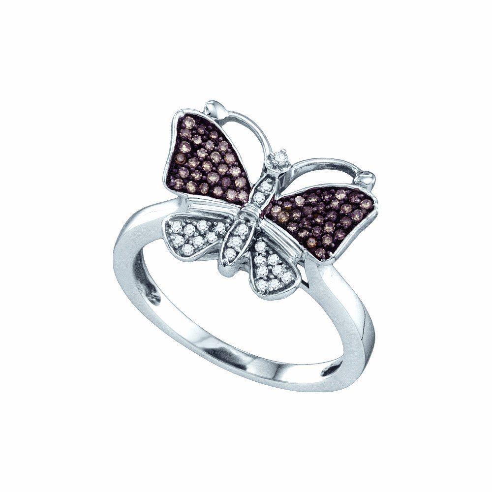 Size 7.5 - 10K White Gold Channel Set Butterfly Round Cut Chocolate Brown and White Diamond Ladies Womens Fashion, Wedding Ring OR Anniversary Band (1/5 cttw.)