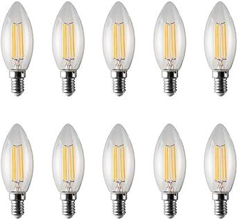 shanyao Bombilla LED E14, 4 W, blanco cálido, 37 x 99 mm, 10 unidad: Amazon.es: Iluminación