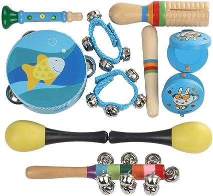 10pcs Instruments de Musique Enfants Set en Bois Percussion