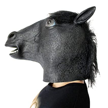 Feng Mascara de Cabeza de Caballo Negro Halloween Masquerade Show Mono Latex Natural Animal Props,