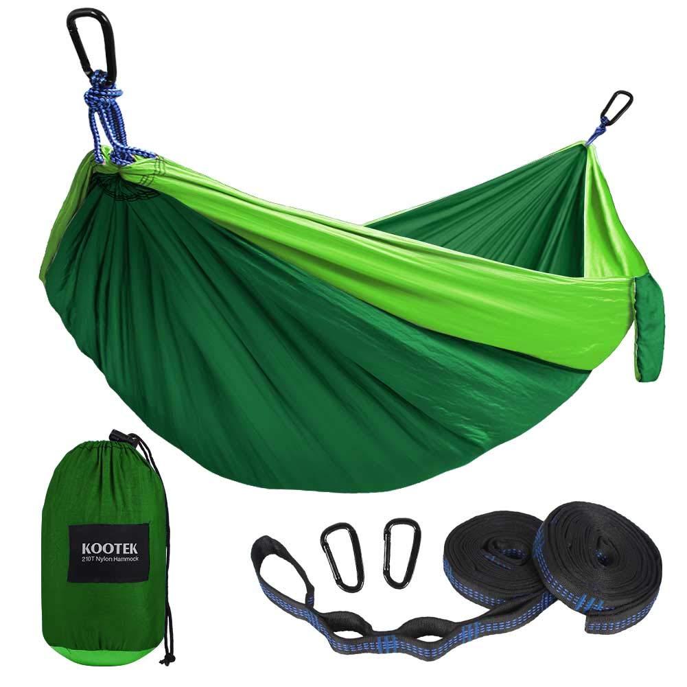 Kootek Camping Hammock Portable Indoor Outdoor Tree Hammock with 2 Hanging Straps, Lightweight Nylon Parachute Hammocks for Backpacking, Travel, Beach, Backyard, Hiking (Green/Blackish Green) by Kootek