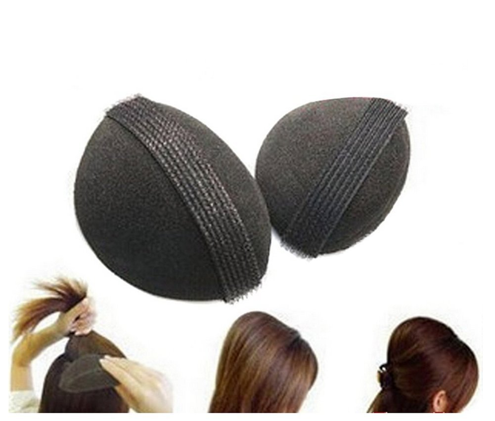 2PCS Womens Bump It Up Sponge Volume Hair Base Styling Insert Tool Black (1 Small & 1 Large) erioctry