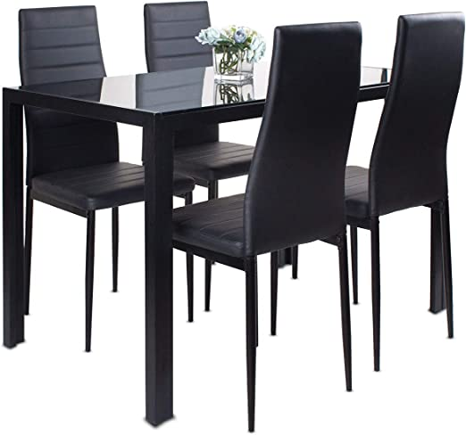 Black Dining Table And Chairs Set Of 4 Glass Kitchen Table And 4 Faux Leather Padded Chairs Kitchen Dining Table Set Amazon Co Uk Kitchen Home