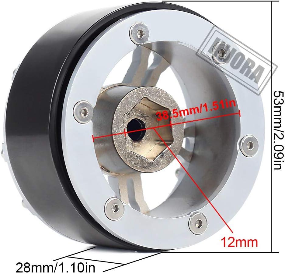 INJORA RC Jante 4pcs 1,9 Beadlock Roue Pneus pour 1:10 RC Crawler Traxxas TRX-4 Axial SCX10 90046 SCX10 III AXI03007 12mm Hex Noir