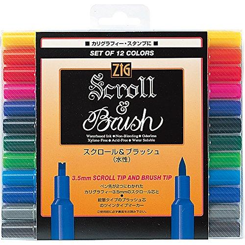 - Kuretake ZIG Scroll & Brush 12 color set TC-5000/12V (japan import)