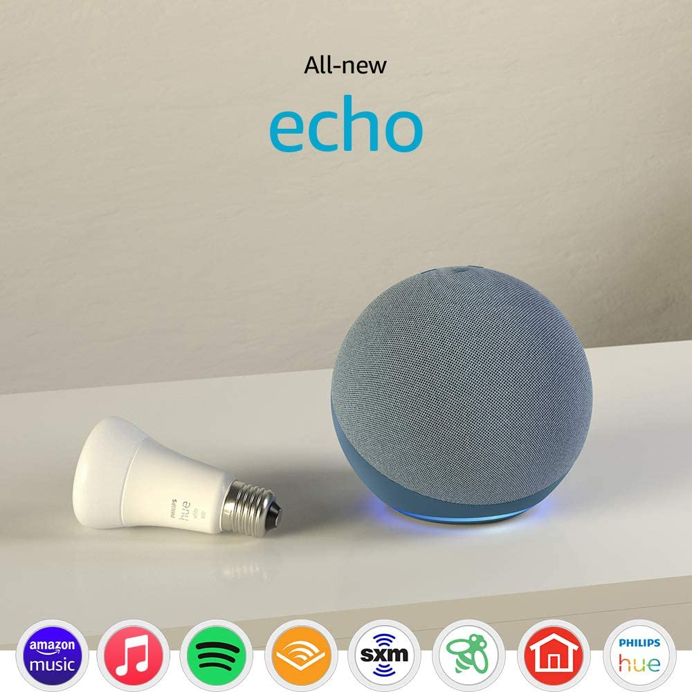 All-new Echo (4th Gen) with Philips Hue Bulb | Twilight Blue